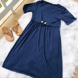 Mikarose Soft Blue Empire Waist Dress Size M